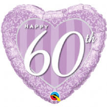 "Happy 60th Damask Foil Balloon (18"") 1pc"